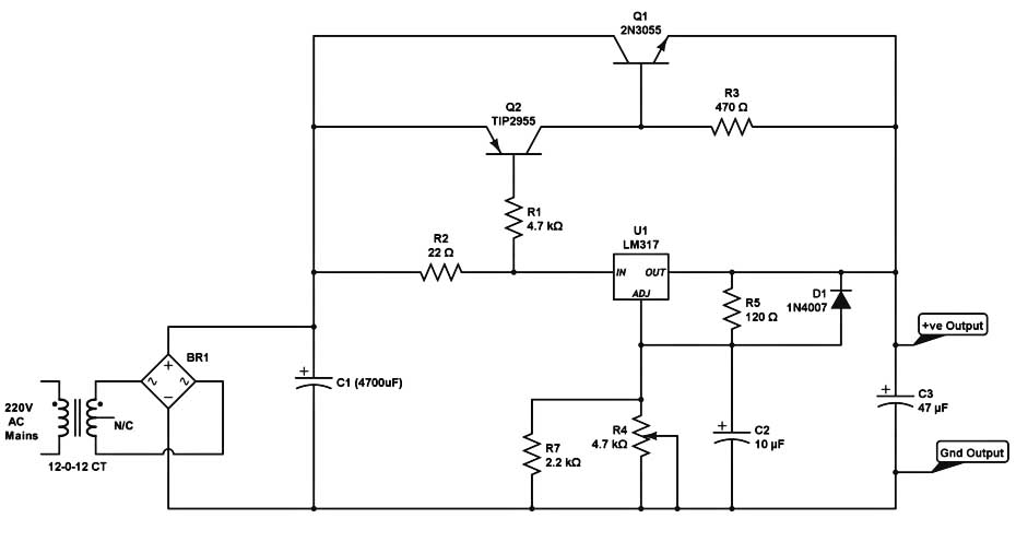 High Current Dc Regulated Power Supply Circuit With Lm317 5 on constant current source circuit